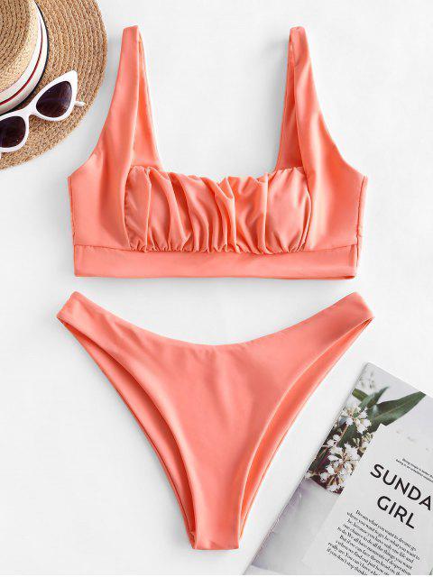 ZAFUL Hochgeschnittener Bikini Badebekleidung mit Quadratischem Ausschnitt und Rüschen - Dunkler Pfirsich S Mobile