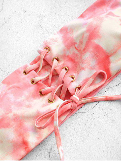 ZAFUL Maillot de Bain Bikini Teinté à Jambe Haute à Lacets - Multi-A L Mobile