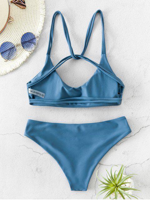 chic ZAFUL Twist Strappy Bikini Swimsuit - BLUE KOI M Mobile