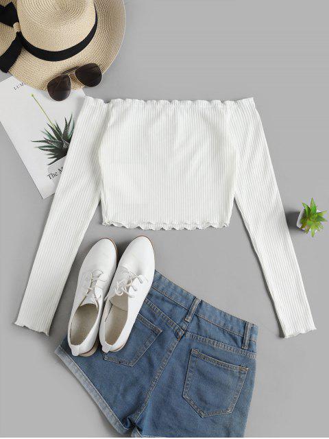 ZAFUL T-shirt Côtelé Papillon à Epaule Dénudée à Ourlet en Laitue - Blanc L Mobile