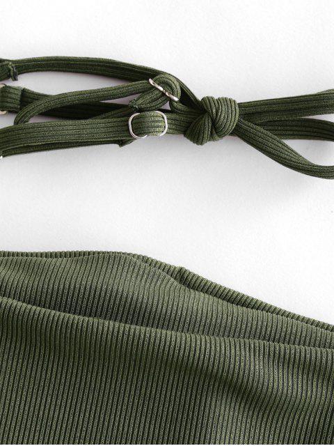 women's ZAFUL Ribbed Buckled Bandeau Bikini Swimsuit - CAMOUFLAGE GREEN M Mobile