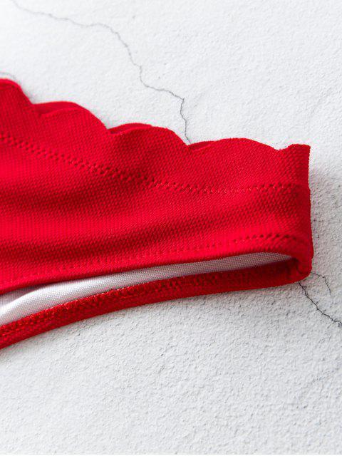 women ZAFUL Scalloped Trim Textured Bikini Bottom - RED S Mobile