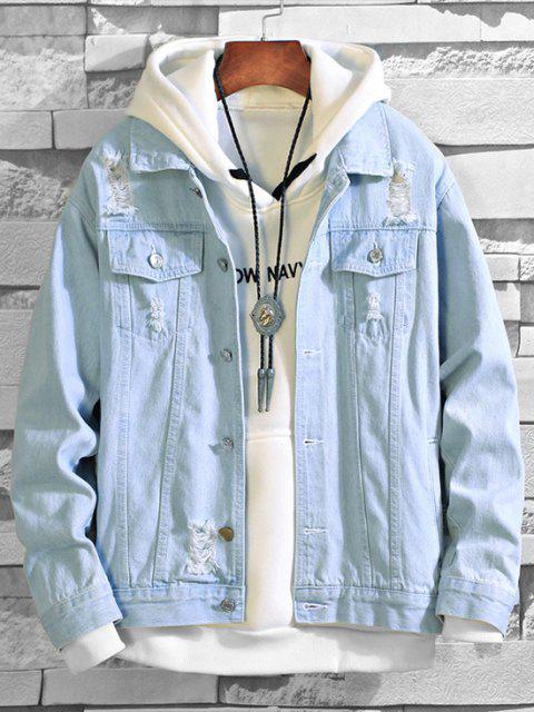 Veste Déchirée en Couleur Unie en Denim - Bleu clair XL Mobile