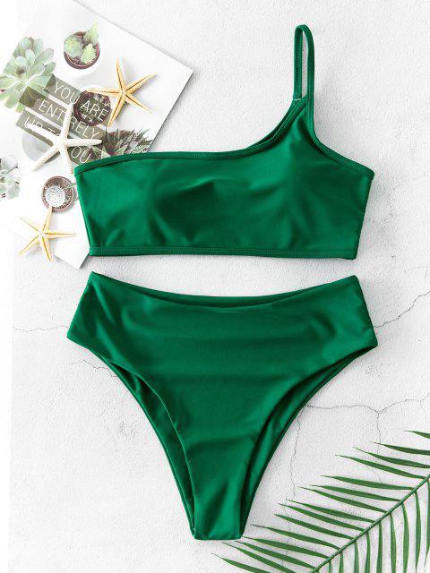 Costume da Bagno Bikini a Monospalla di ZAFUL a Taglio Alto - Verde Mare Medio  S Mobile
