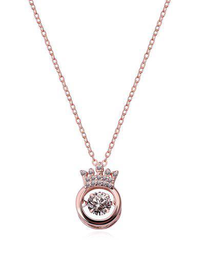 Hollow Crown Zircon Pendant Necklace - Rose Gold Crown
