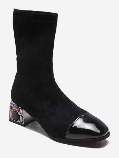 Rhinestone Chunky Heel Suede Mid Calf Boots - Black Eu 35