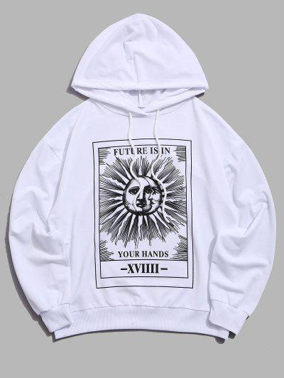 Sun Letter Graphic Drawstring Hoodie - White 2xl