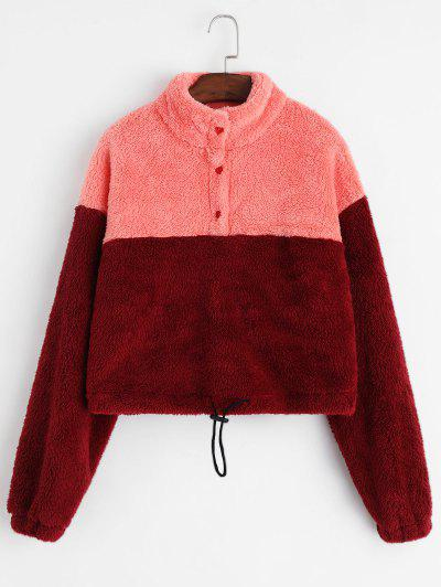 ZAFUL Two Tone Half Buttoned Toggle Drawstring Fluffy Sweatshirt - Multi S