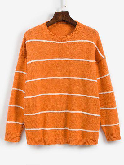 Striped Drop Shoulder Boyfriend Sweater - Orange