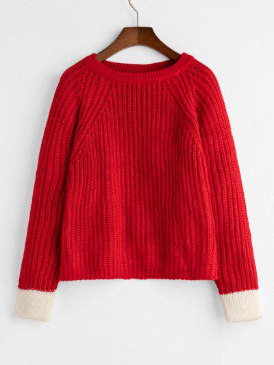 Raglan Sleeve Crew Neck Slit Colorblock Sweater - Red