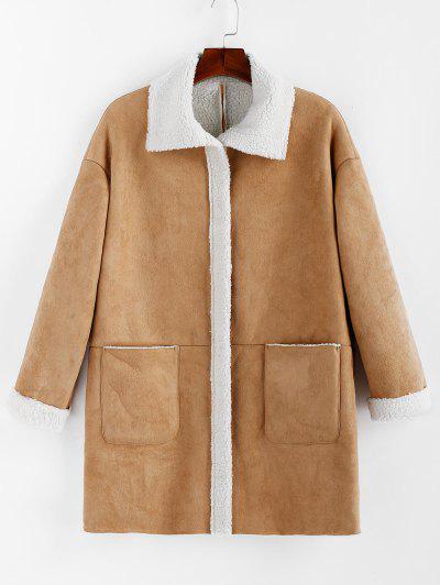Faux Suede Pockets Sheepskin Coat - from $34.99