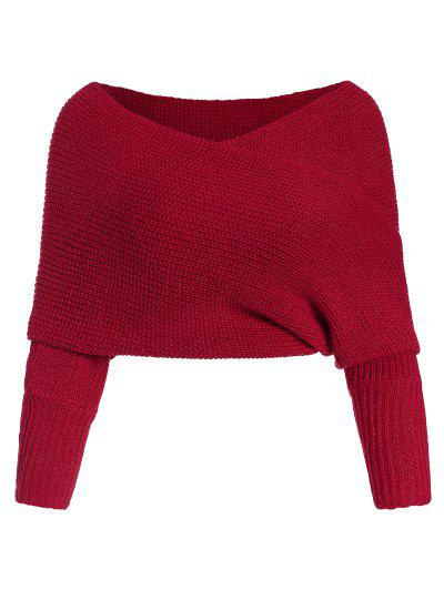 Solid V Neck Wrap Jumper Sweater - Red