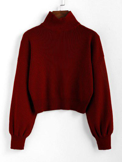 ZAFUL High Neck Drop Shoulder Plain Sweater - Chestnut M