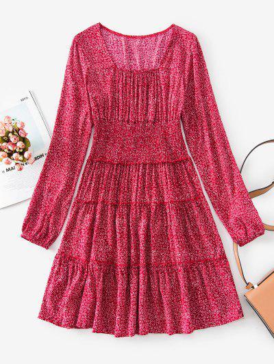 Shirred Waist Frilled Ditsy Print Dress - Cherry Red Xl