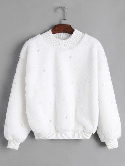 Sweat-shirt Perlé En Tricot à Ourlet En Fausse Fourrure - Blanc