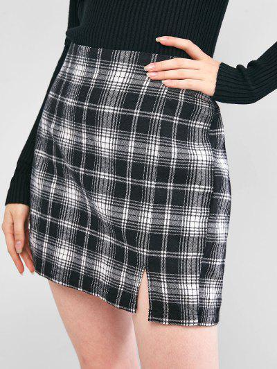 ZAFUL Plaid Slit A Line Skirt - Black L