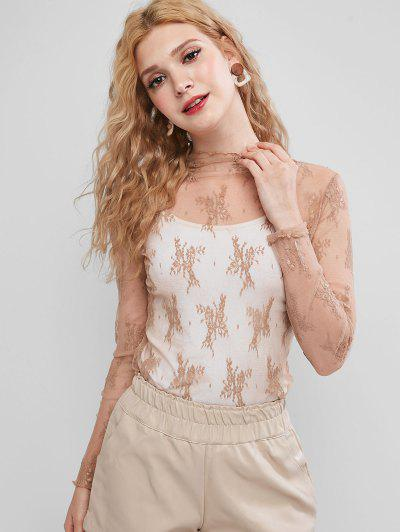 Sheer Floral Lace Top - Tan