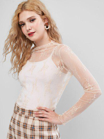 Sheer Floral Lace Top - Apricot