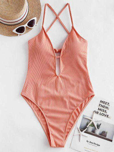 ZAFUL Ribbed Criss Cross High Cut One-piece Swimsuit - Orange Pink M