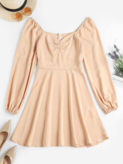 ZAFUL Ruched Sweetheart Neck Long Sleeve Dress