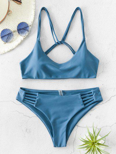 ZAFUL Twist Strappy Bikini Swimsuit - Blue Koi M