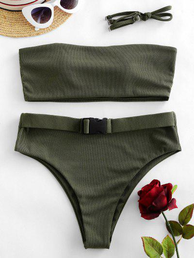 ZAFUL Ribbed Buckled Bandeau Bikini Swimsuit - Camouflage Green S