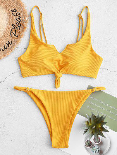 ZAFUL Pețiol V Notch Knot String Bikini Swimsuit - Soare Galben M