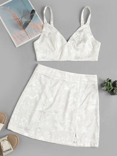 ZAFUL Floral Jacquard Slit Mini Skirt Set - White L