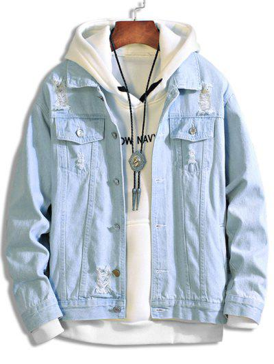 Solid Color Ripped Decorated Denim Jacket - Light Blue 3xl