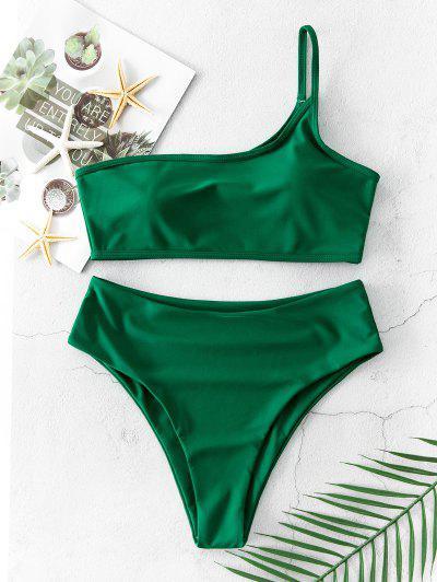 ZAFUL Hochgeschnittener Bikini Badebekleidung Mit Einziger Schulter - Mittleres Meer Grün S