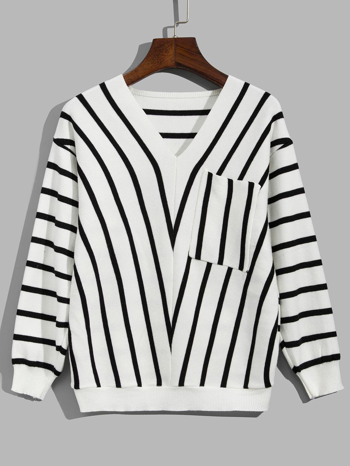 Striped Drop Shoulder Pocket Sweater