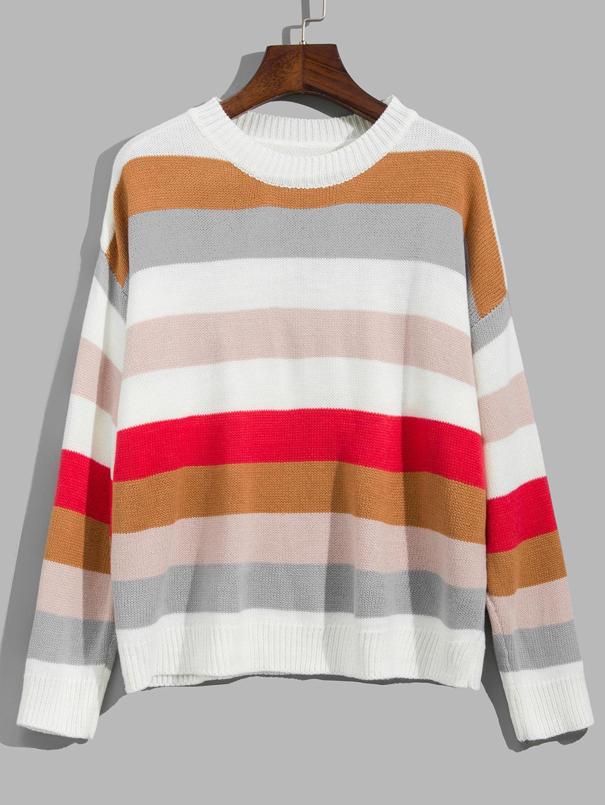 Striped Drop Shoulder Contrast Sweater