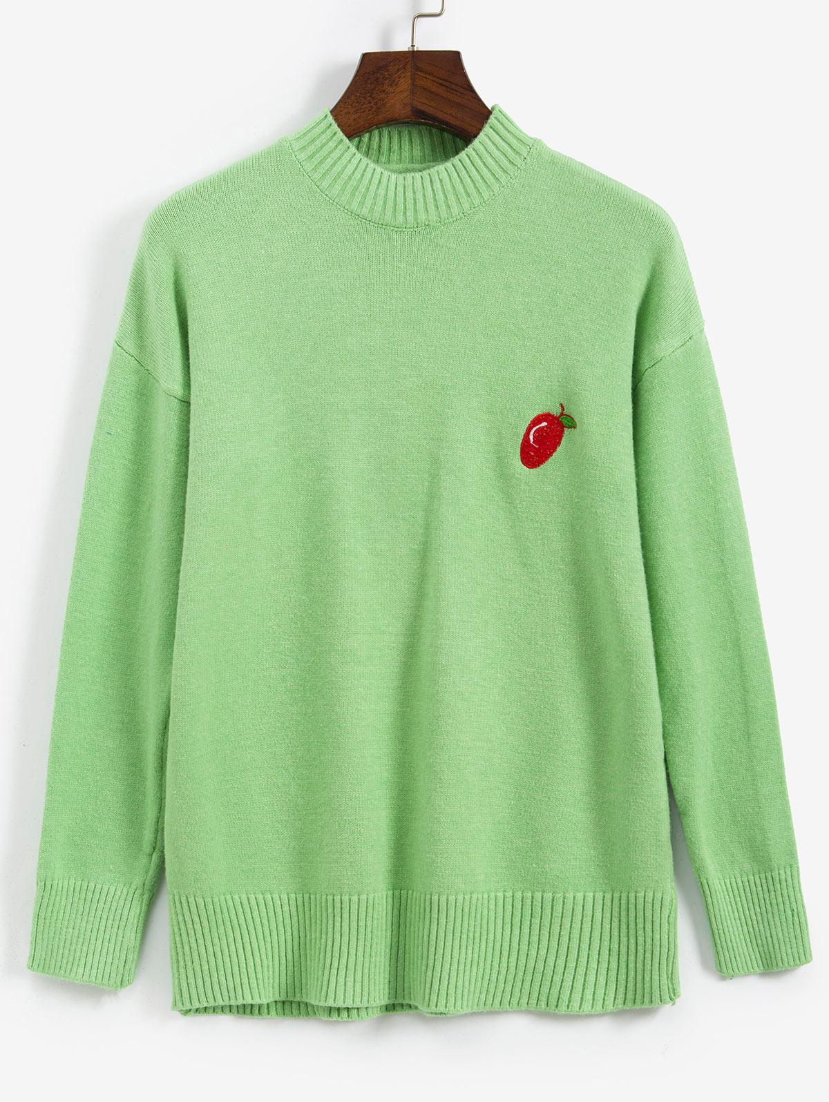 Fruit Embroidered Drop Shoulder Sweater