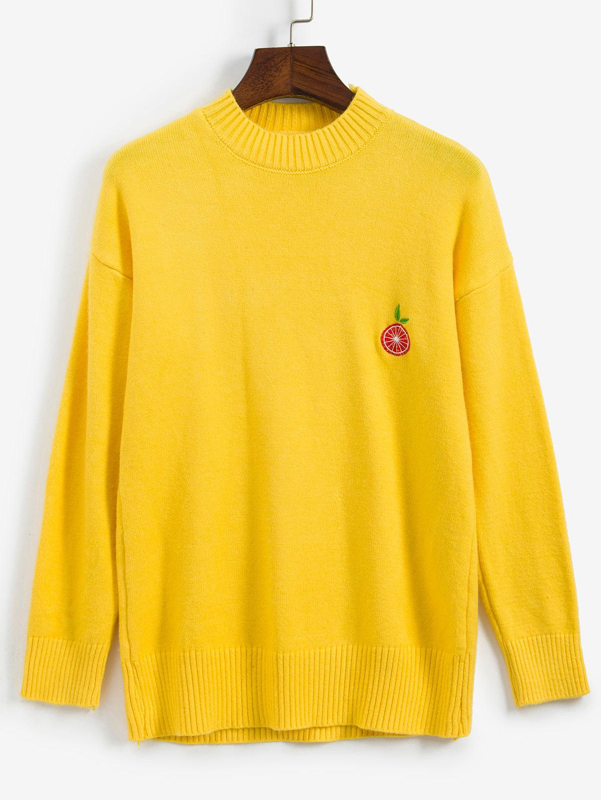 Fruit Embroidered Drop Shoulder Sweater