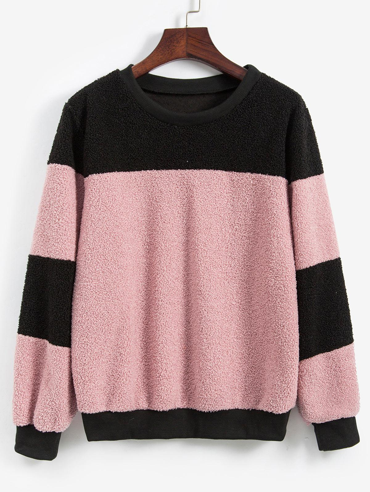 Two Tone Fluffy Teddy Pullover Sweatshirt