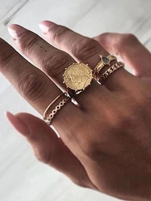 Rhinestone Teardrop Character Finger Rings Set