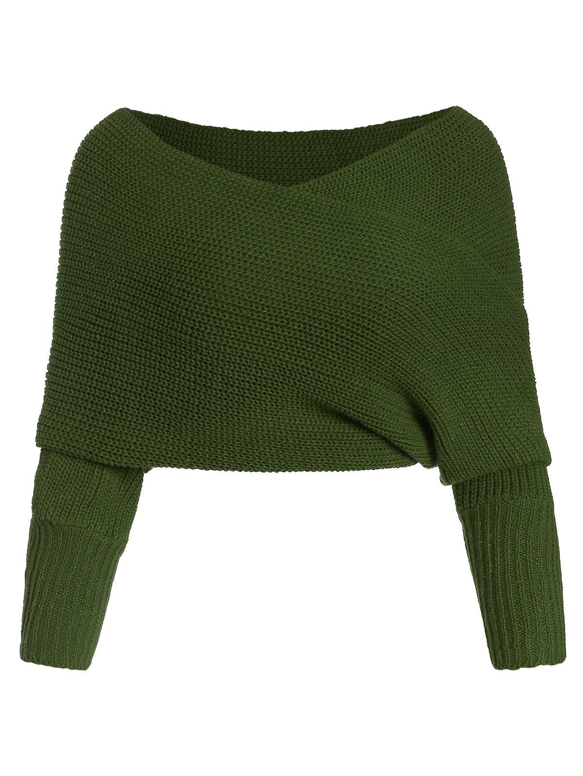 Solid V Neck Wrap Jumper Sweater
