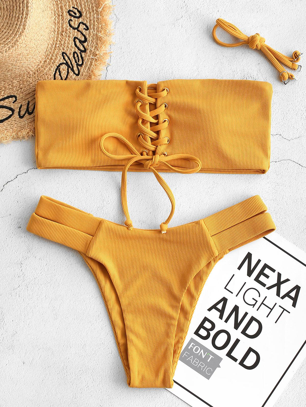 ZAFUL Ribbed Bandeau Lace Up Bikini Swimsuit фото