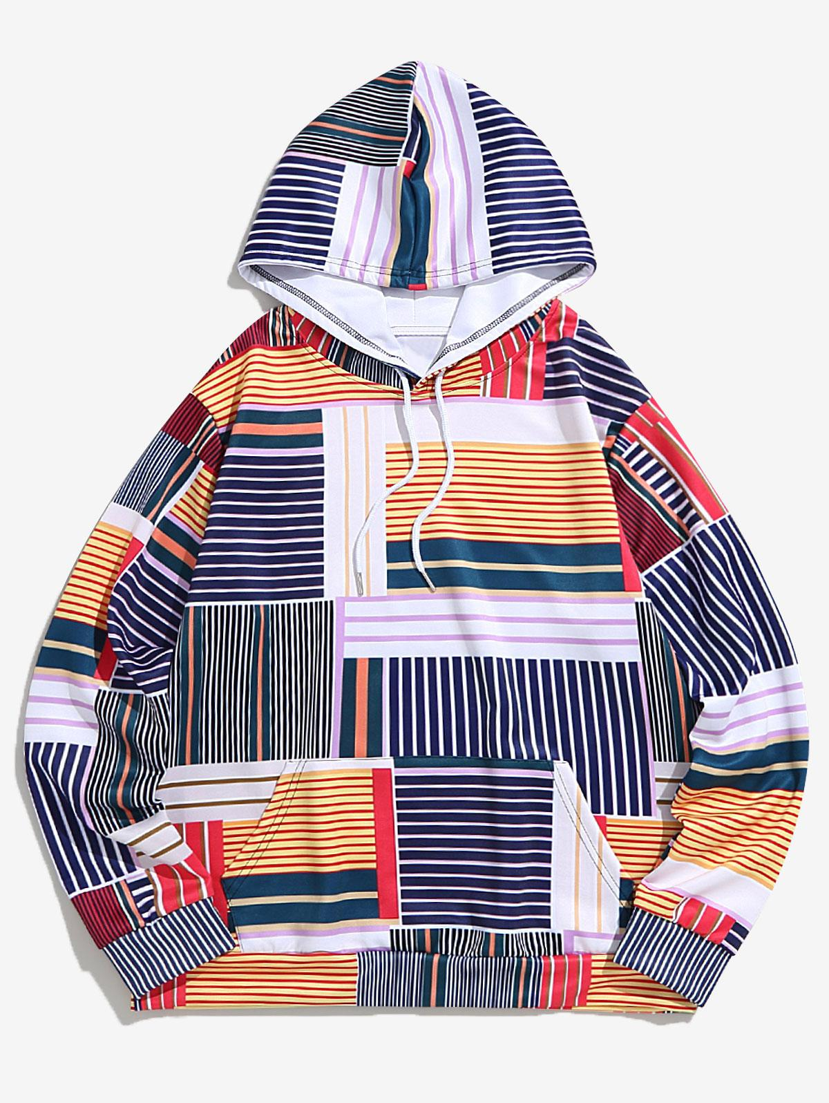 Stripes Geometric Spliced Print Drawstring Hoodie фото