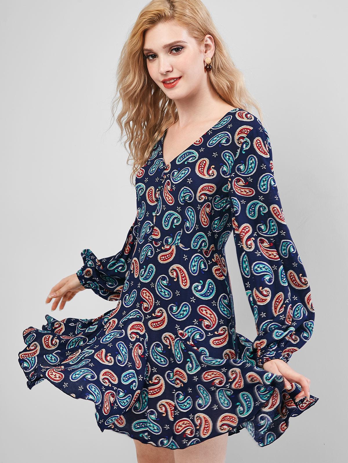 ZAFUL Paisley Print Buttons Mini Flare Dress фото
