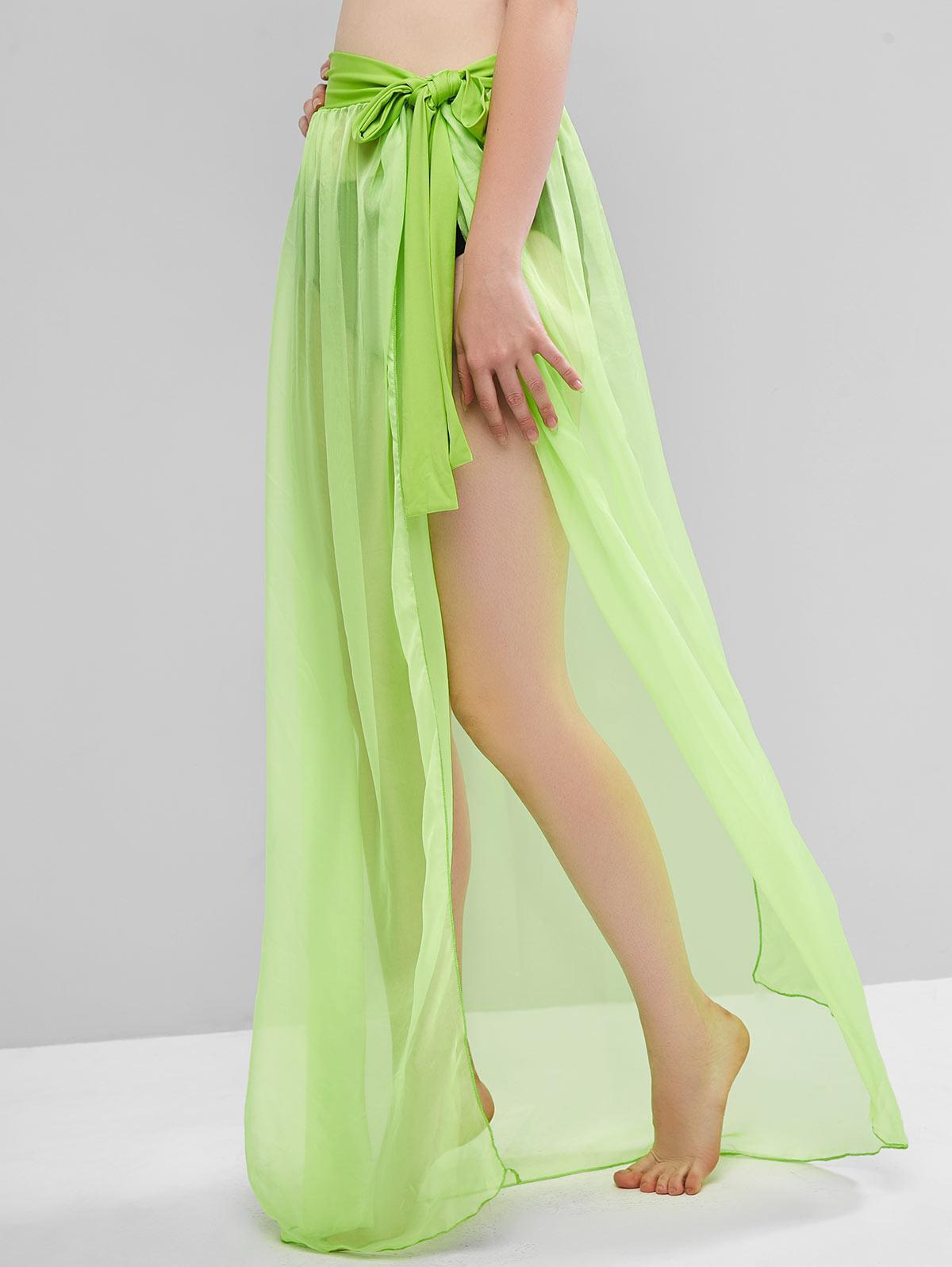 Sheer Tie Maxi Wrap Skirt