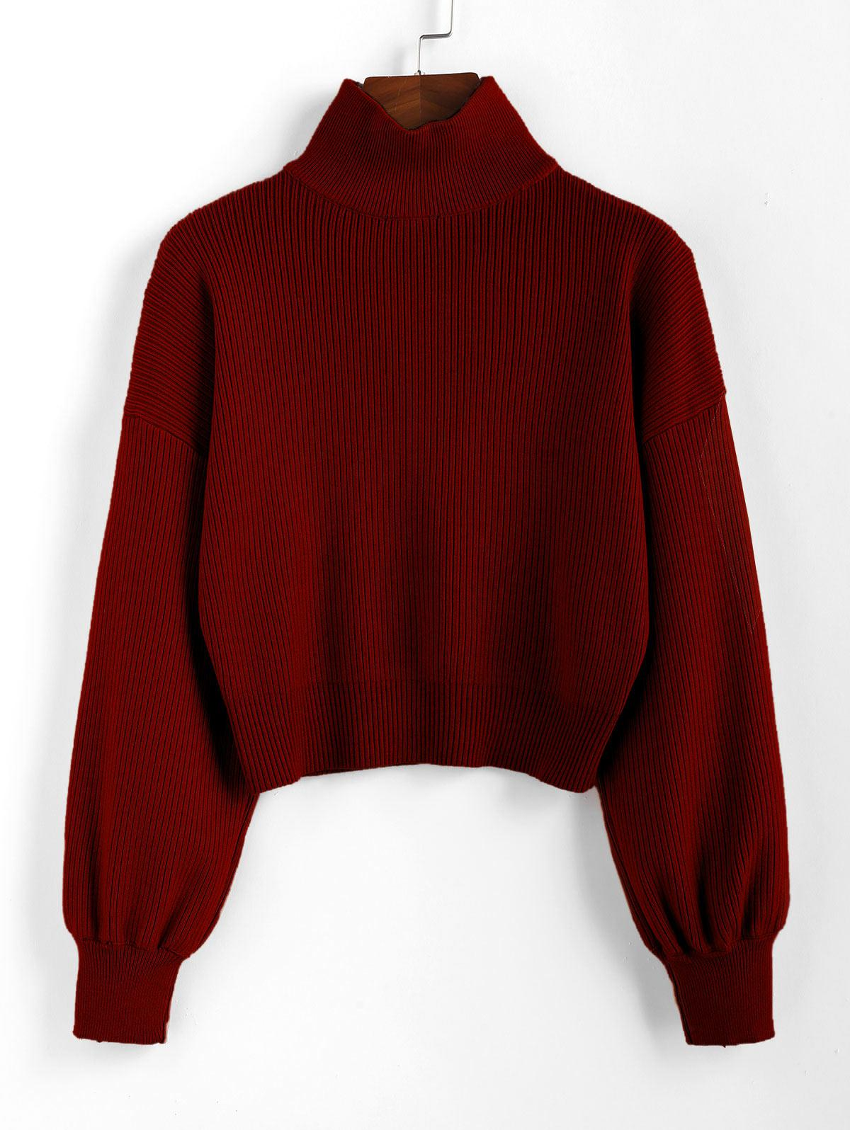 ZAFUL High Neck Drop Shoulder Plain Sweater