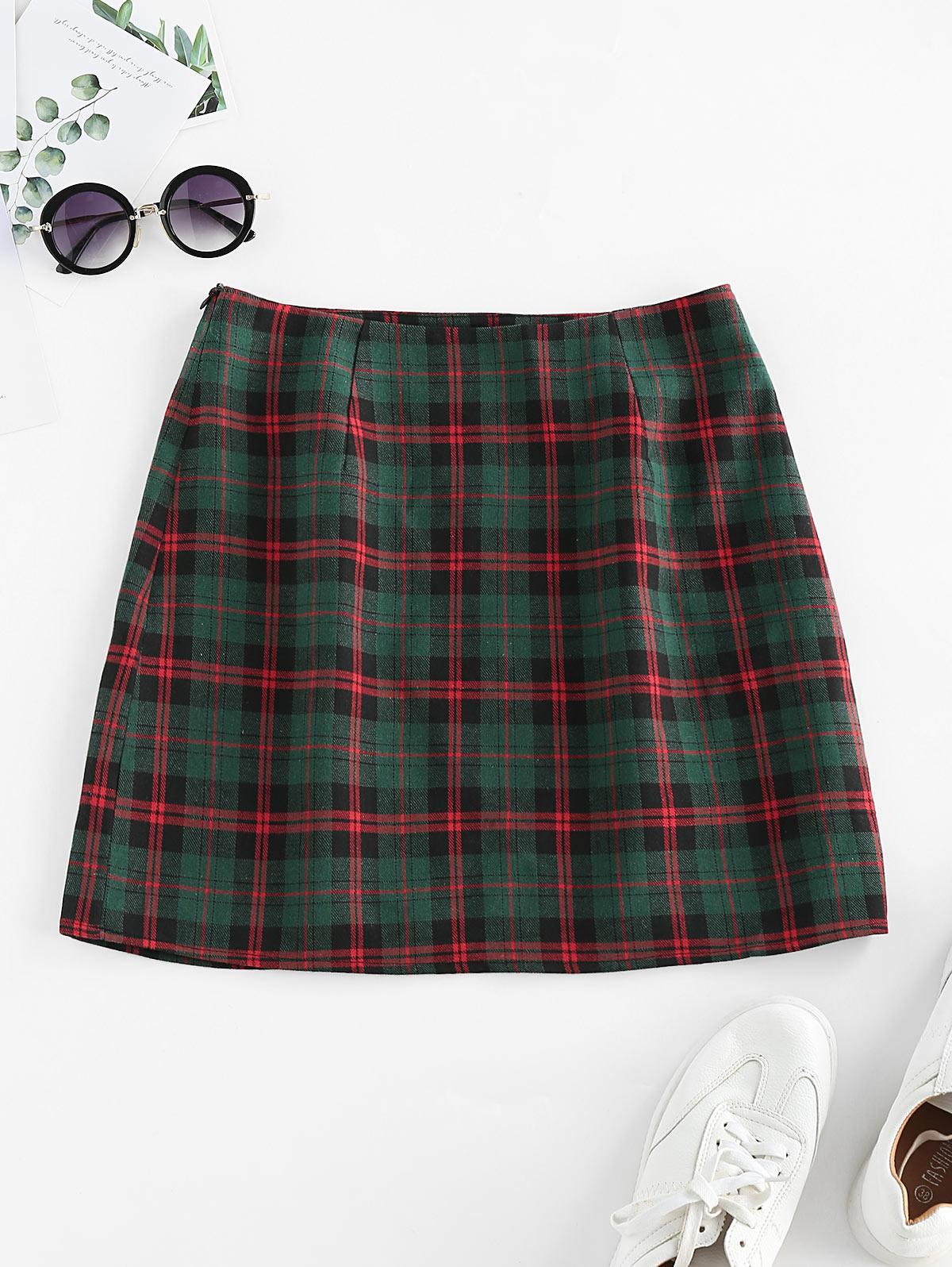 ZAFUL Plaid Print High Waisted Mini Skirt
