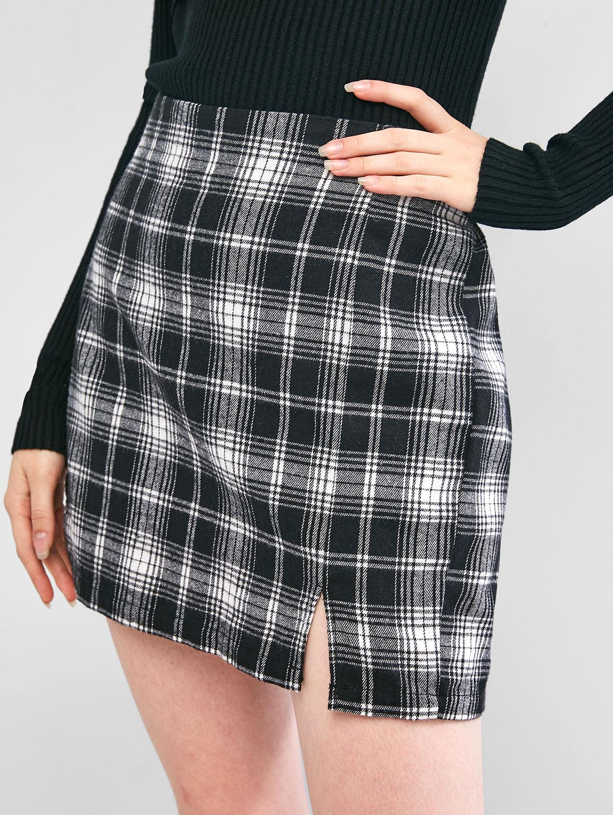 ZAFUL Plaid Slit A Line Skirt