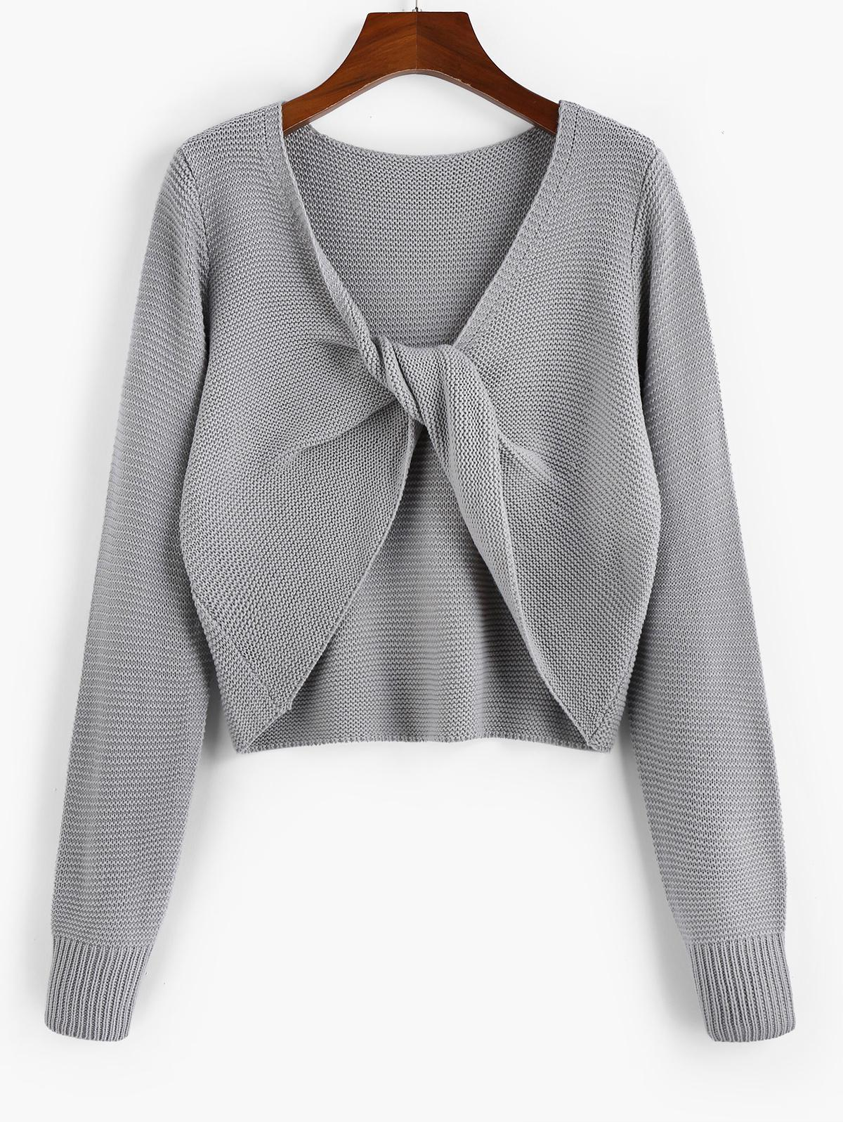 ZAFUL Twisted Plunging Jumper Sweater