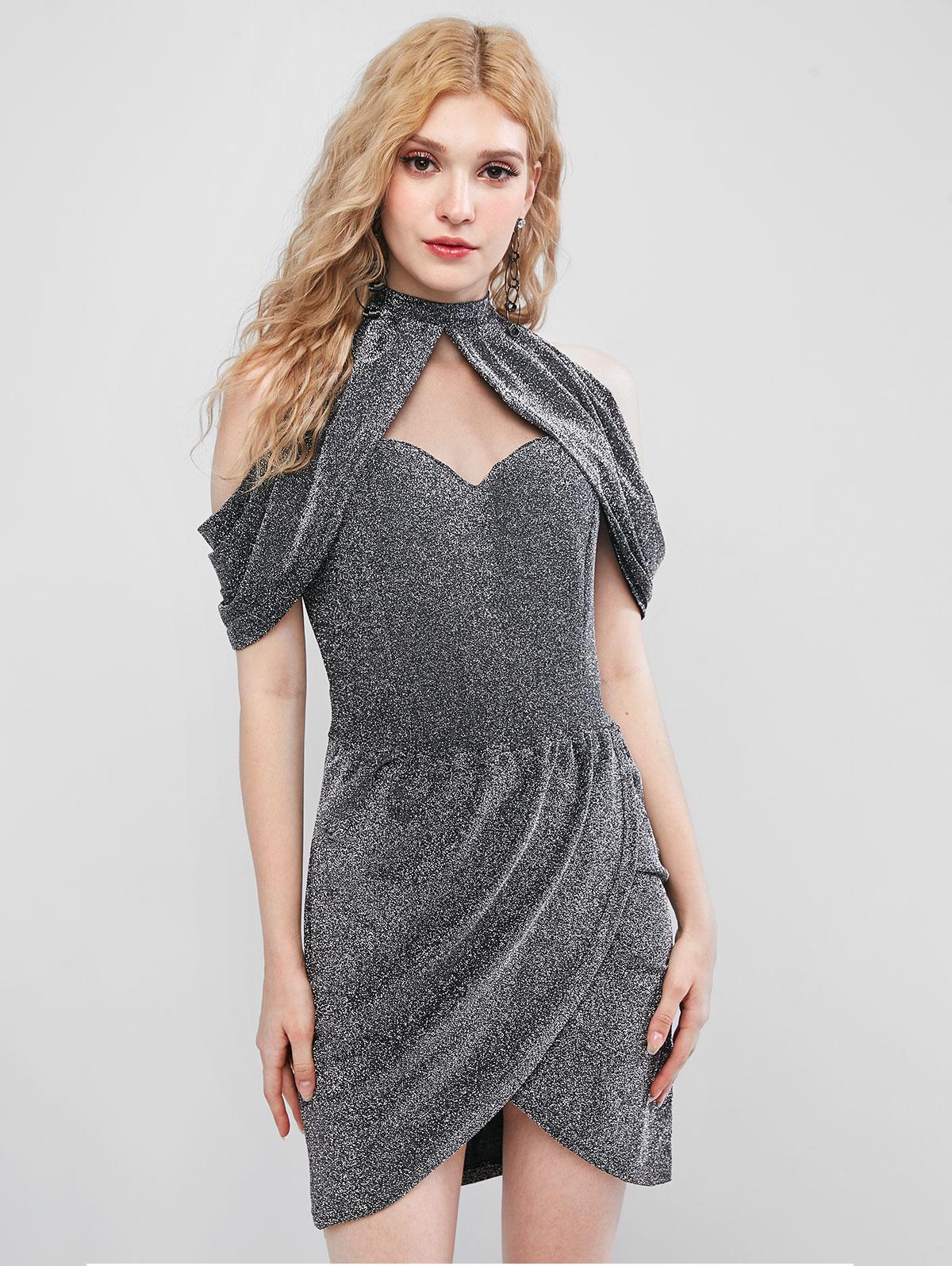 Metallic Thread Draped Mesh Panel Tulip Dress