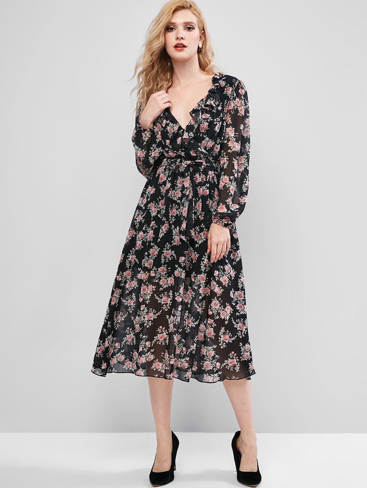 ZAFUL Long Sleeve Floral Belted Ruffles Surplice Dress фото