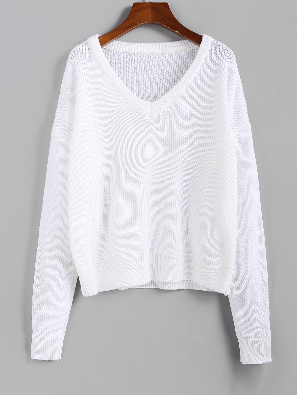 ZAFUL X Luna Montana V Neck Drop Shoulder Plain Jumper Sweater