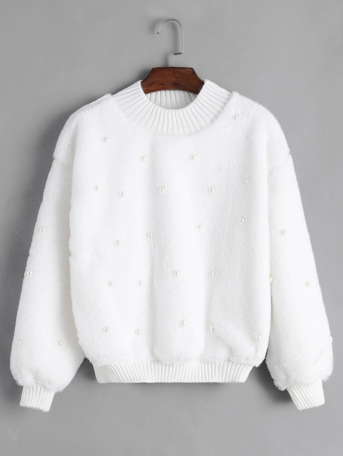 Beading Knit Trim Faux Fur Sweatshirt