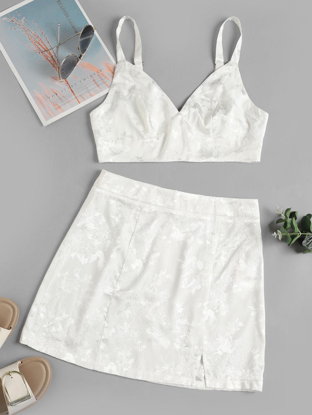 ZAFUL Floral Jacquard Slit Mini Skirt Set